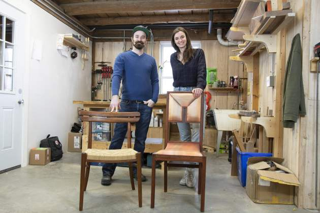 Jared Williams and Catherine Emil, makers of the Wegner Chair, left, and Lucien Chair, create the chairs and other pieces in their woodworking shop, Toward Nightfall, in Fairfax, Vermont. They have been named Vermont's Emerging Woodworkers of the Year.