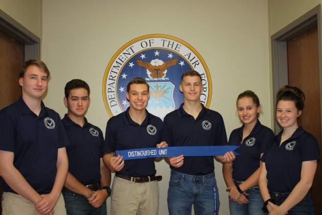 From left, AFJROTC members showing off their Distinguished Unit award were Daniel Billingsley, Ryan Surber, Hunter Rozacky, Joey Tompkins, Halie Jones and Angelina Ziegler.