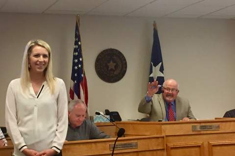 Kimberley Blohm, new president and CEO of the Greater Boerne Chamber of Commerce, was introduced by Judge Darrel Lux to Kendall County commissioners on Monday morning.