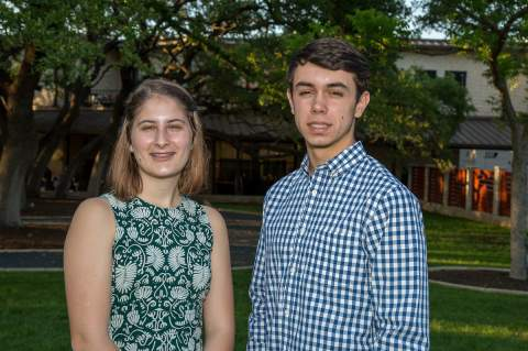 Sophia Urh and Nathan Young each received a $2,500 scholarship from Pedernales Electric Cooperative