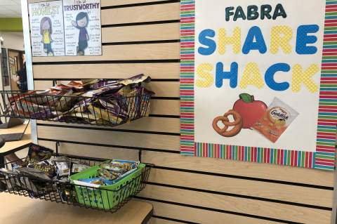 Share Shacks allow students to contribute unopened snacks with classmates. Photo courtesy of the BISD
