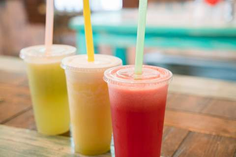From left: Cucumber, pineapple and watermelon aguas frescas, available at The Fruit Cup, 608 E. Blanco Rd. in Boerne.