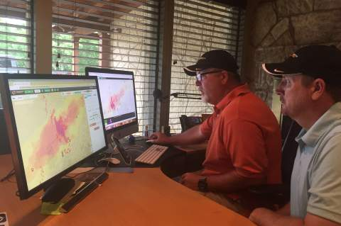 During recent, violent storms Barry and Mark Harkness of Interactive Hail Maps monitored that extreme weather, along with many other hail-producing meteorological events. Star photo by Elena Tucker