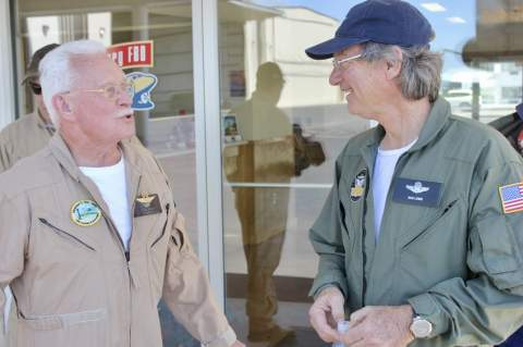 Terry Adams and Rod Lewis pre-flight briefing at the Gillespie County Airport April 14. Photo credit Lucky Lindy