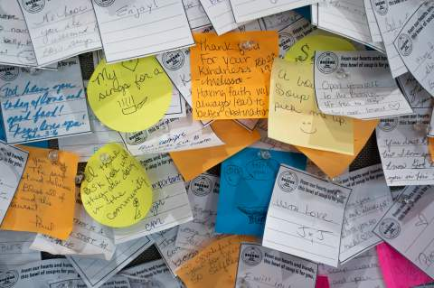 The corkboard at Boerne Soup Kitchen is filled with notes: white, words of encouragement written by patrons who bought a $2 bowl of community soup, colored ones by those who ate the soup and wanted to leave a note of thanks.                    Star ph