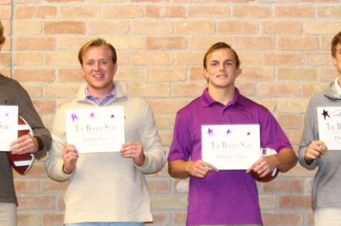 Boerne Star Offensive Players of the Game for Boerne High were (l-r): Cole Boyd, Colton Pool, Douglas Hodo and Paul Amick.