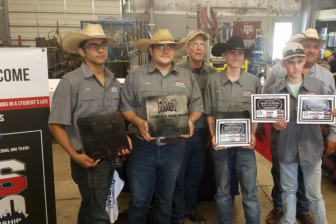 CHS Grillmaster Cooking Team 2, from left – front, Gino Kitts, Giovanni Kitts, Cody Teague and Ben Gonzales; back – Ag Teacher Ron Krobot and Rick Santos.